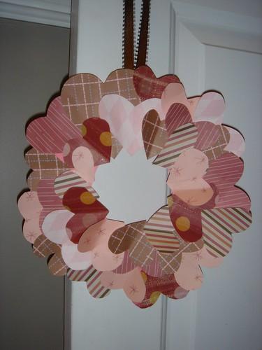 Valentine's Day paper heart wreath [close up]