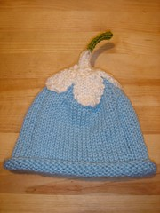 Blue flower baby knitted hat