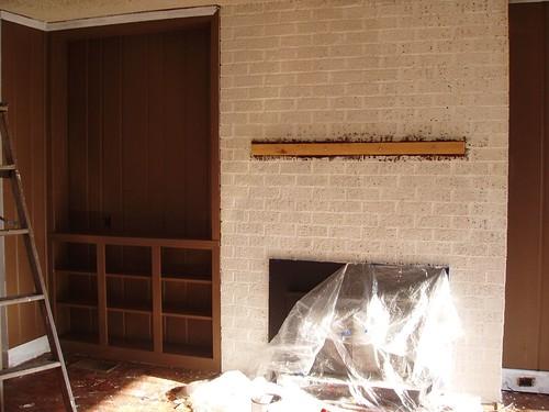 Mocha walls/white fireplace