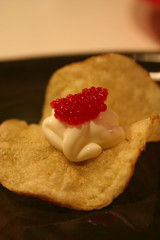 Potato chip with creme fraiche and caviar
