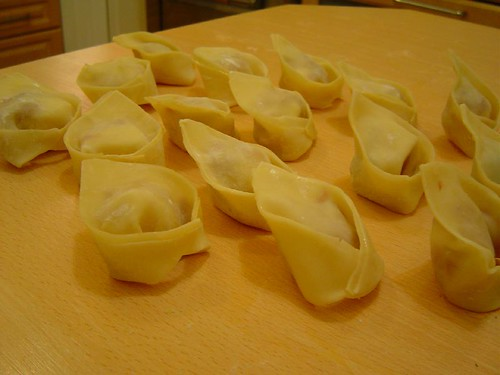 won ton ravioli with salami-cheese filling