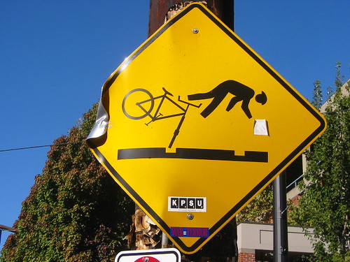 Bicycle hazard sign, Portland OR by Salim Virji