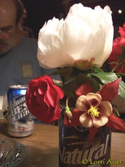 Stolen Peony, Rose and Columbine in a Beer Can