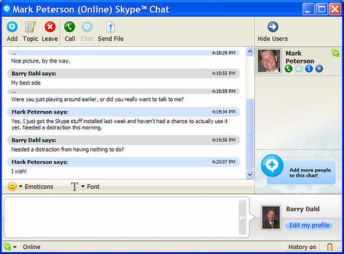 Skype IM screenshot