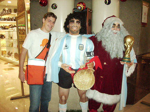 downtown ME and Diego on a pic with Santa Claus