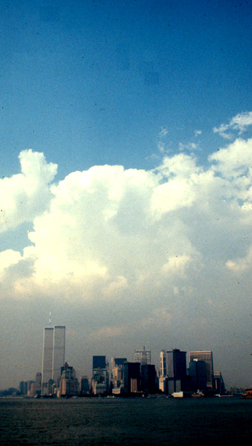 New York skyline from Staten Island ferry, July 1980.