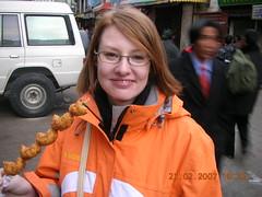 Heather with fried dumplings