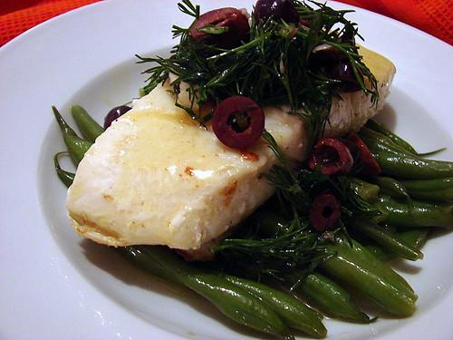 halibut lemon butter olive dill relish