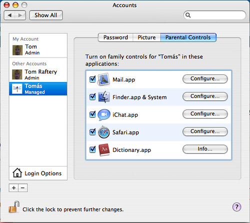 OS X in-built Parental Controls