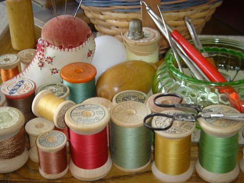 antique thread and needles