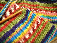 green stripey yarn