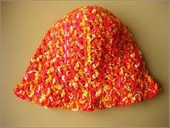 orange crocheted hat 001