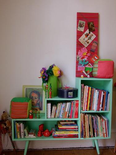 A's bookshelf