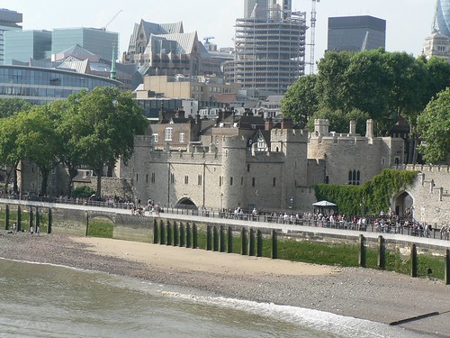 Tower of London in modern city