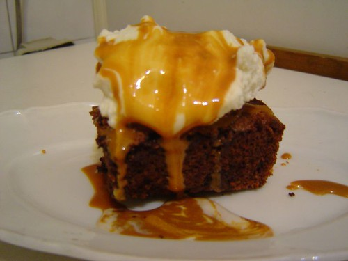 brownie with dulce de leche sauce and ice cream