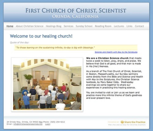 Screenshot of new Orinda Christian Science church website
