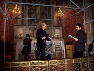 Warren Rosenzweig and Daniel Kahn performing in the VotivKirche (Votiv Church)