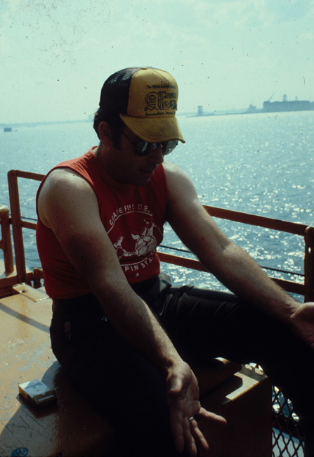 Passenger on the Staten Island ferry, New York, July 1980. He said he was an ex-convict, newly out of Sing-Sing prison
