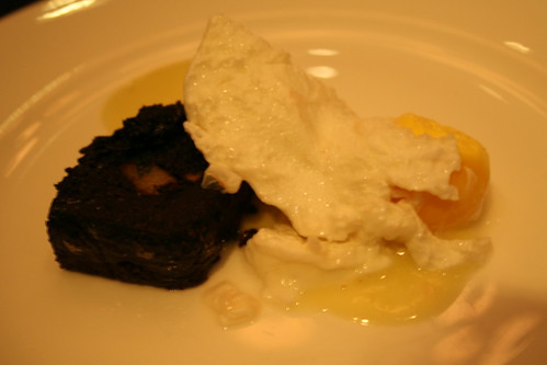 pork blood cake with poached egg