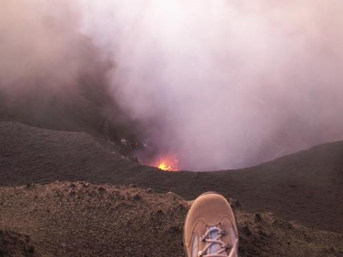 My foot and Mt Yasur, Tanna, Vanuatu