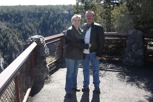 Calvin and me at Oak Creek Viewpoint, rockin the motorcycle gear