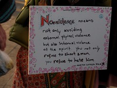 """Nonviolence means not only avoiding exte..."