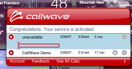 The Callwave Visual Voicemail widget