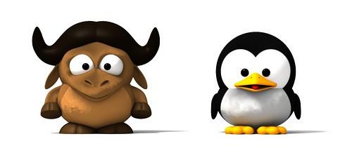 Gnu y Tux las dos mascotas del software libre