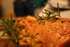 Broiled Salmon with Truffled Rosemary White Bean Salsa