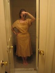 gold lace 40s dress