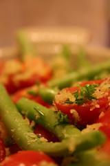 Raw green bean and tomato salad