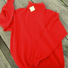 Another red turtleneck cashmere sweater
