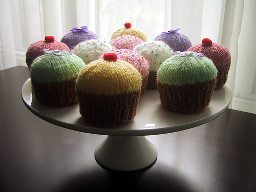 A selection of knitted cupcakes
