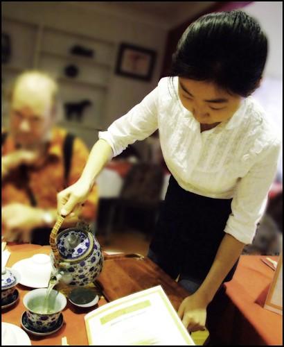 Pouring the tea at Satay House, Wollongong Mall