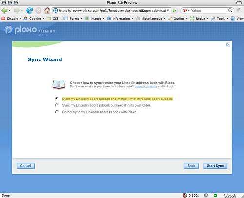 Plaxo-LinkedIn integration screen two