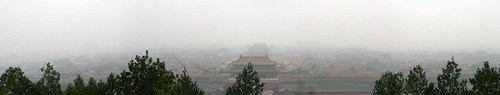 forbidden city, in the smog