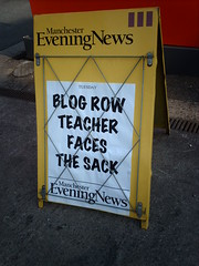 BLOG ROW TEACHER FACES THE SACK