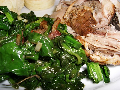 Tea Braise Pork Shoulder With Confit Of Spinach With Ramps And Bacon
