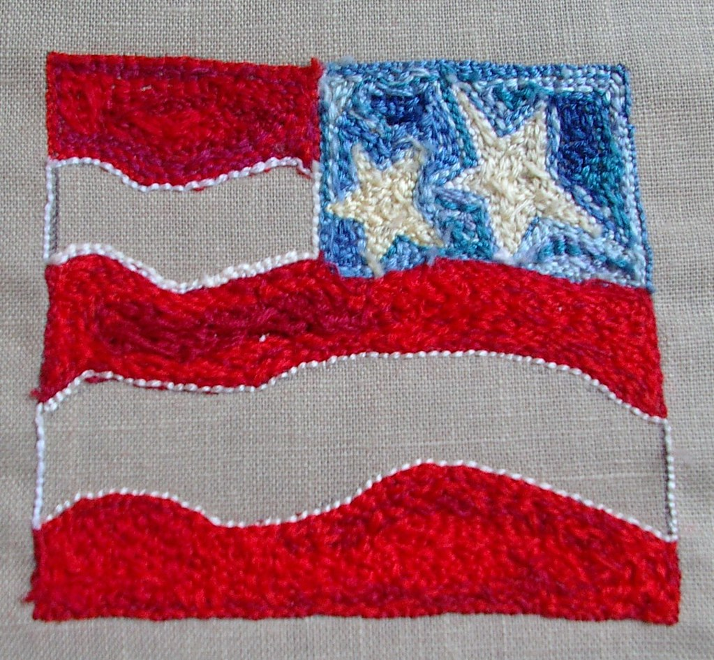 Flag in Russian needle punch back of flag