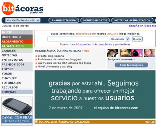Mensaje de Bitacoras.com