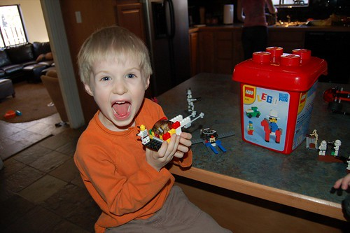 Drew Showing Off His Lego Creation