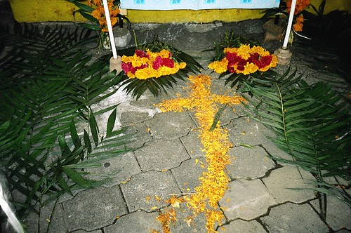 Cross made of marigold petals for Day of the Dead in Mexico City