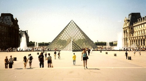 Pyramid at the Louvre in Paris, France