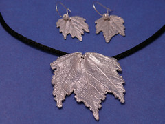 Painted Maple Leaf Pendant and Earrings