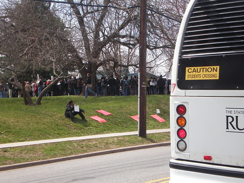 getting on my bus, leaving the rally