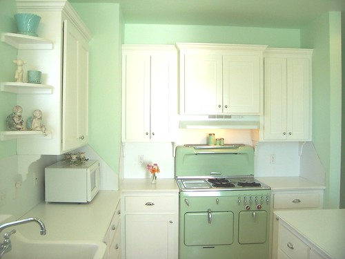 My Vintage Kitchen Stove (chambers c model) when we first built, we've upgraded the counters since. by Holly Abston.
