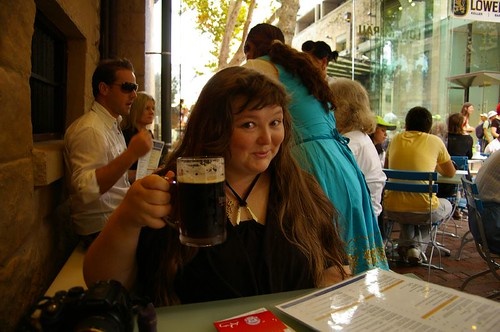 Watching the SHB 75th festivities from Lowenbrau Beer Hall and Restaurant, The Rocks, Sydney by you.
