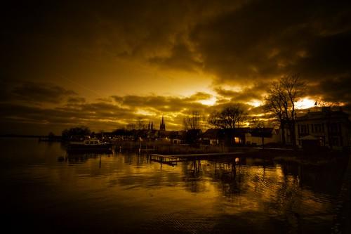 evening at the little harbour in werder por gari.baldi