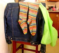 Green stripey socks