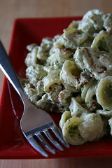 Orecchiette with Walnuts, Sundried Tomatoes, Goat Cheese, and Pesto